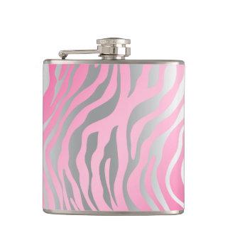 Cool Zebra Silver Birthday Bachelorette Hip Flask