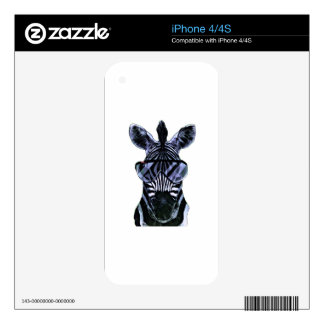 Cool Zebra with Glasses Decal For iPhone 4