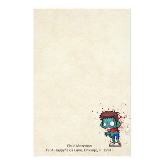 Cool Zombie Dude with Blood / Paint Splatter Stationery