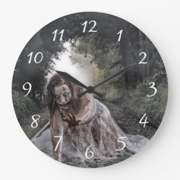 Cool Zombie Girl Large Clock