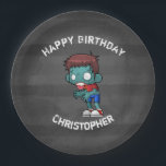 """Cool Zombie Guy Seeking Brains Happy Birthday Paper Plate<br><div class=""""desc"""">Birthday paper plates with a cool looking zombie guy,  with big white vacant eyes staring blankly and sickly green skin. Wearing ripped and tattered clothing with arms outstretched looking for brains.   Set on a charcoal gray grunge style background with faded stripes. Personalize with a name.</div>"""