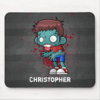 Cool Zombie Guy with Blood / Paint Splatter Mouse Pad