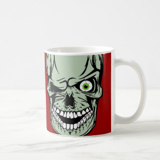 Cool Zombie skull face with a missing eye, Coffee Mug