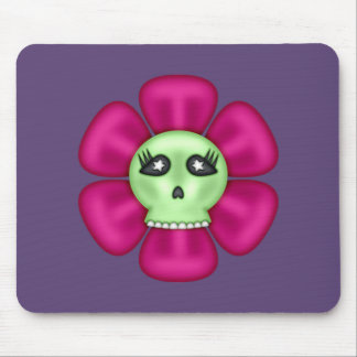 Cool Zombie Skull Flower Mouse Pad
