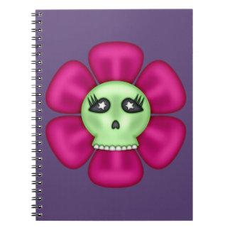 Cool Zombie Skull Flower Spiral Notebook