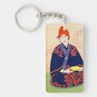 CoolCoriental japanese classic lady art Double-Sided Rectangular Acrylic Keychain