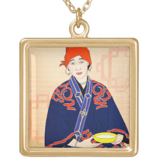 CoolCoriental japanese classic lady art Gold Plated Necklace