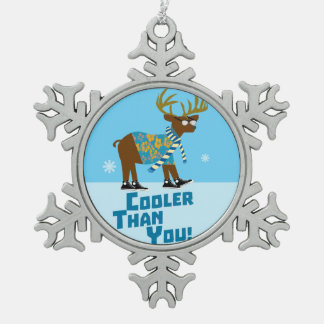 Cooler Than You Snowflake Pewter Christmas Ornament