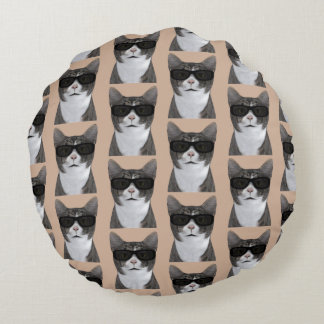 Coolest Cat In Town Round Pillow