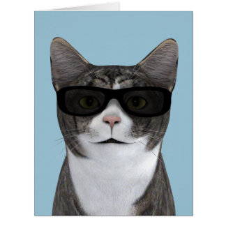 Coolest Cat With Black Sunglasses Card