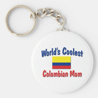 Coolest Colombian Mom Basic Round Button Keychain