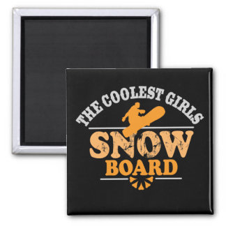Coolest Girls Snowboard 2 Inch Square Magnet