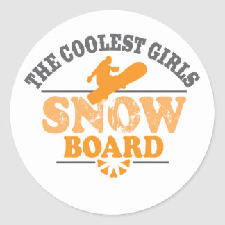 Coolest Girls Snowboard Classic Round Sticker