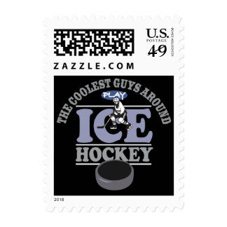 Coolest Guys Play Hockey Postage Stamps