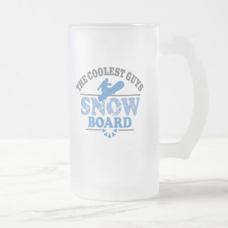 Coolest Guys Snowboard Frosted Glass Beer Mug