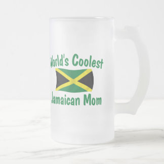 Coolest Jamaican Mom Frosted Glass Beer Mug