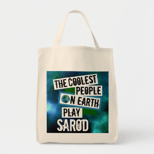 The Coolest People on Earth Play Sarod Nebula Grocery Tote Bag