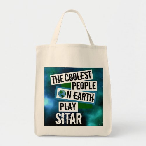 The Coolest People on Earth Play Sitar Nebula Grocery Tote Bag