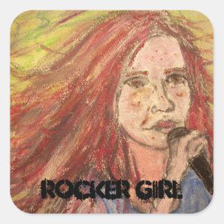 Coolest Rocker Girl Square Sticker