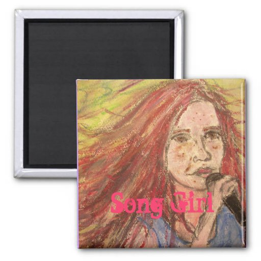 Coolest Rocker Song Girl 2 Inch Square Magnet