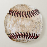 Coolest Round Stone-Look Vintage Baseball Pillows Round Pillow