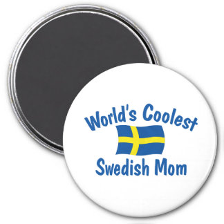Coolest Swedish Mom 3 Inch Round Magnet