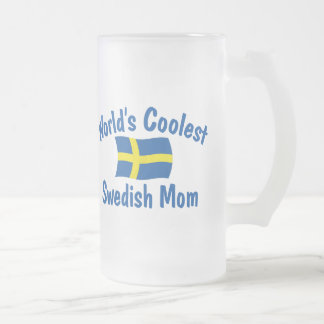 Coolest Swedish Mom Frosted Glass Beer Mug