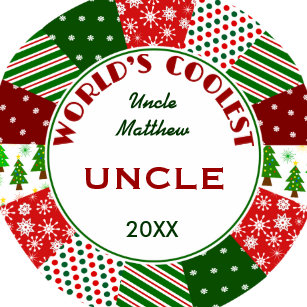 coolest uncle or any name christmas gift ceramic ornament