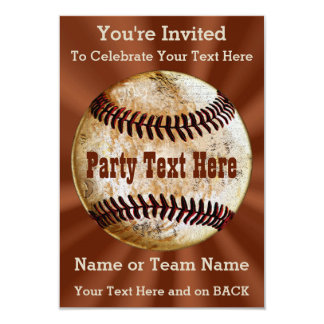 Coolest Vintage Baseball Invitations, YOUR TEXT Card