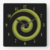 Coolest Yellow and Black Spiral Wall Clock