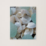"""Cooling Glass Jigsaw Puzzle<br><div class=""""desc"""">Beautiful light green sea glass surrounded by white sea shells</div>"""