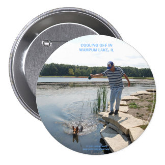 COOLING OFF IN WAMPUM LAKE, IL 3 INCH ROUND BUTTON
