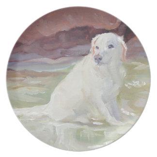 Cooling Off Labrador Retriever Dinner Plate