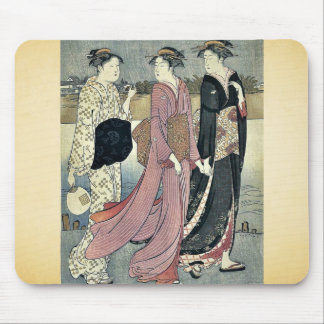 Cooling off near the river bank by Torii, Kiyonaga Mouse Pad