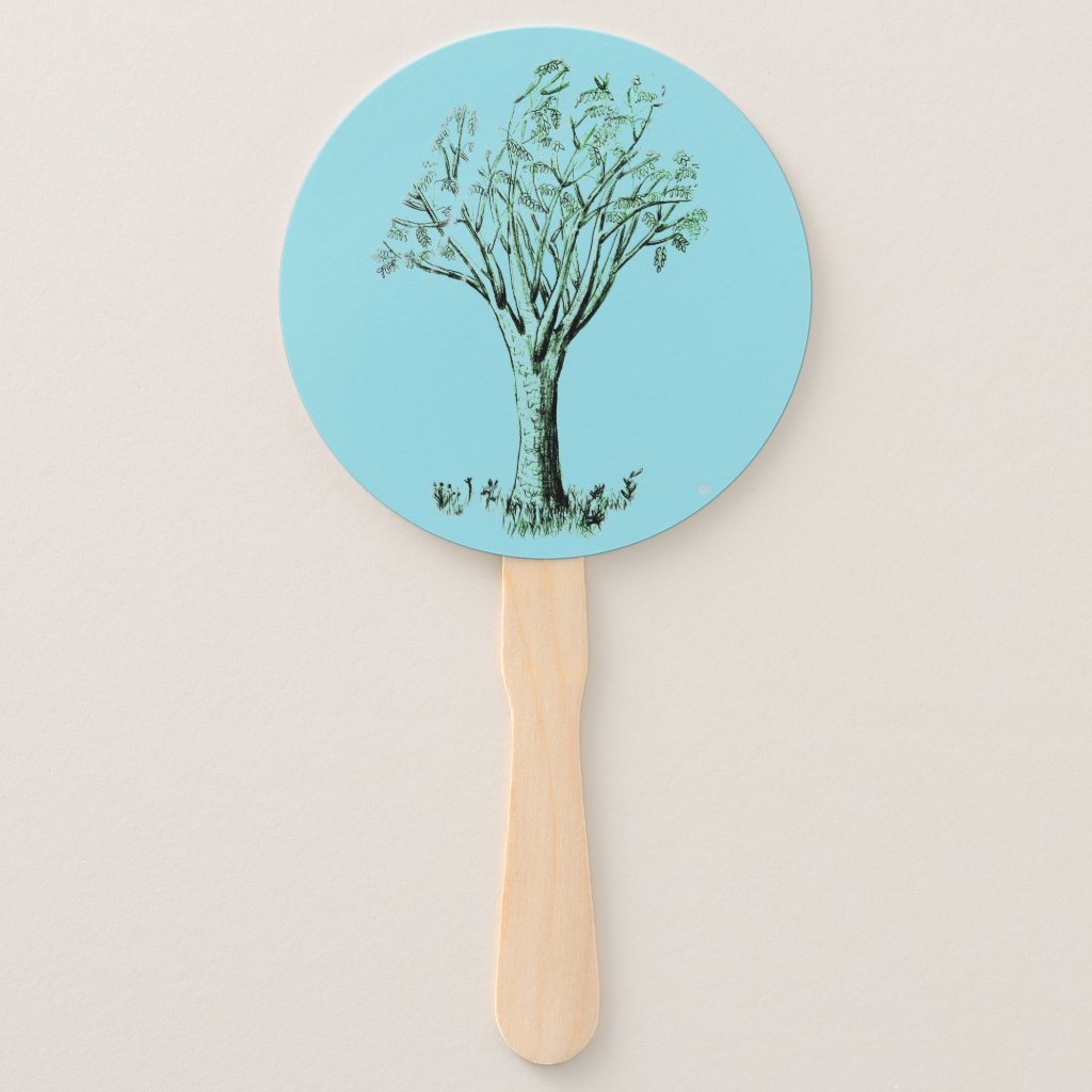 Cooling Tree Illustration on Hand Fan