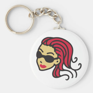 coolly girl - sun glasses basic round button keychain
