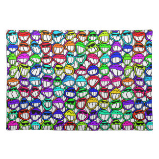 Coolly Smiling Faces Cloth Placemat