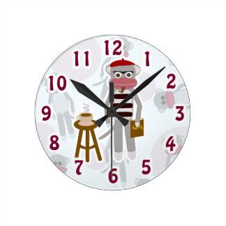 Coolsville Beatnik Sockmonkey Round Clock