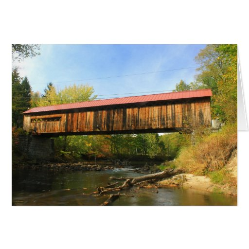 Coombs Covered Bridge Winchester NH River View Greeting Cards