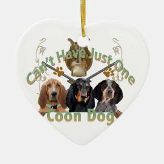 Coon Dog Can't Have Just One Double-Sided Heart Ceramic Christmas Ornament