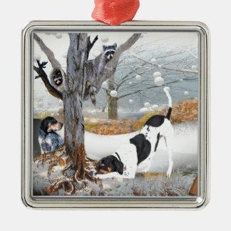 Coon Dog Hunt Metal Ornament