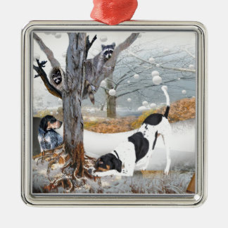 Coon Dog Hunt Square Metal Christmas Ornament