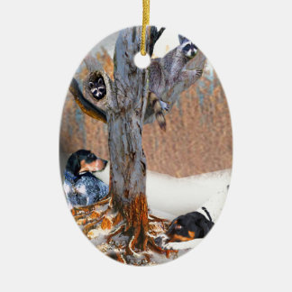 Coon Dog Hunt Double-Sided Oval Ceramic Christmas Ornament