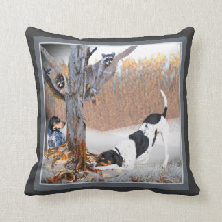 Coon Dogs Tree Two Coons Throw Pillow