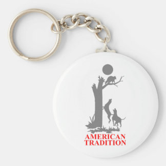 COON HUNTING BASIC ROUND BUTTON KEYCHAIN