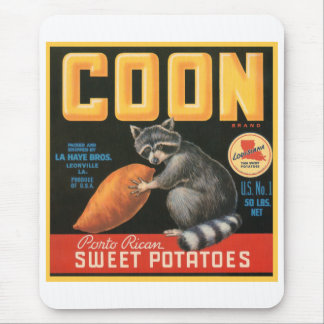 Coon Sweet Potatoes Fruit Crate Label Mouse Pad