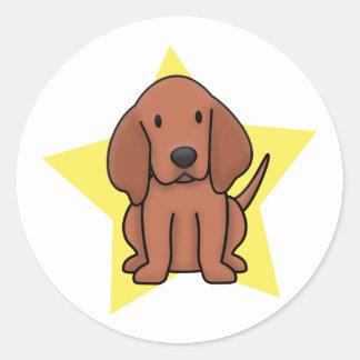 Coonhound de Redbone de la estrella de Kawaii Pegatina Redonda