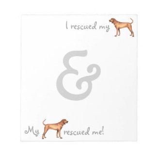 Coonhound de Redbone del rescate Bloc De Notas