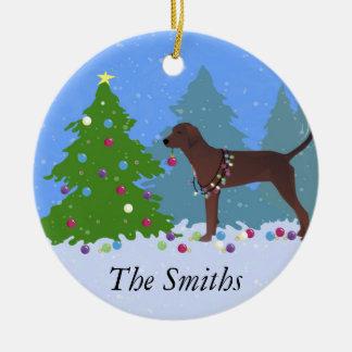 Coonhound de Redbone que adorna el árbol de Adorno Navideño Redondo De Cerámica