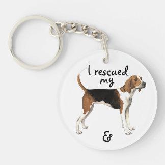 Coonhound del caminante de Treeing del rescate Llavero Redondo Acrílico A Doble Cara